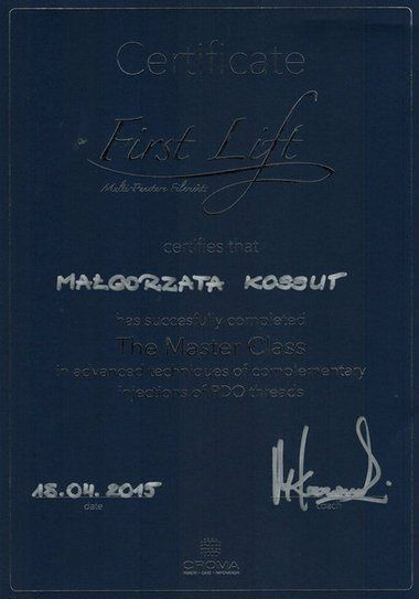 Małgorzata Kossut - First Lift. Master Class in advanced techniques of complementary injection of PDO threads