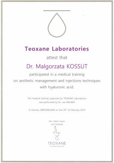 Małgorzata Kossut - TEOXANE LABORATORIES Medical training on aesthetic management and injection techniques with hyaluronid acid