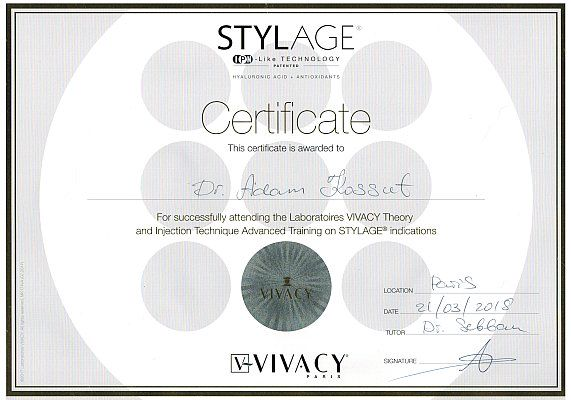 Adam - Certificate  Laboratories VIVACY Theory and Injection Technique Advanced Training on STYLAGE